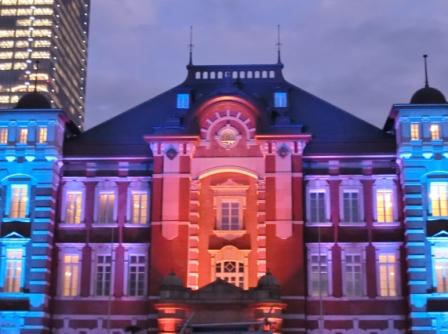 Tokyo Station with Christmas lighting.